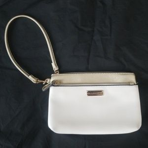 NY & Co. White and Gold Wristlet